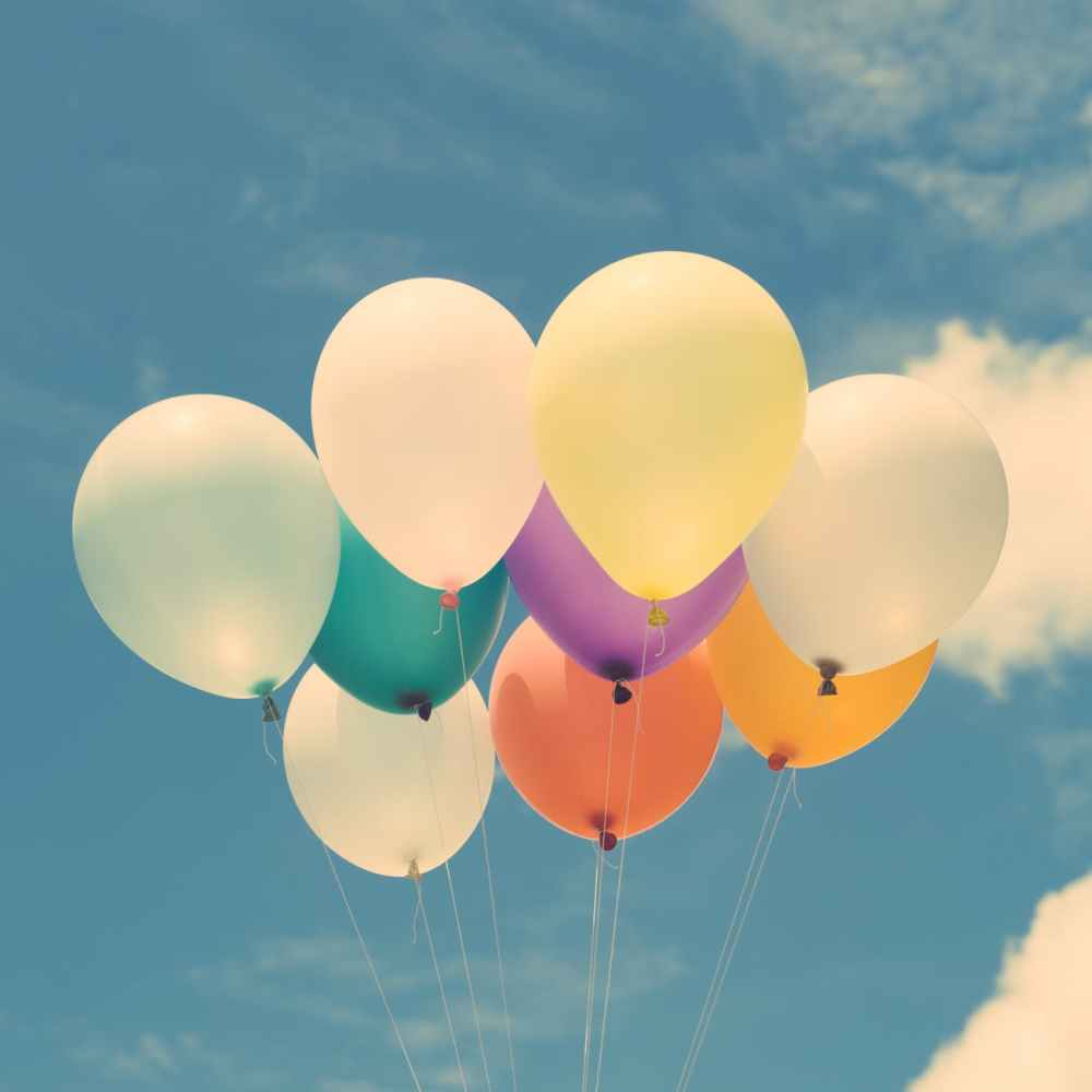 balloons calm clouds colorful
